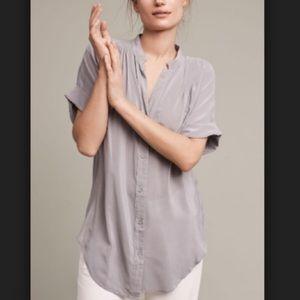 Anthro Rosalyn Gray Silk Tunic Button Down Top